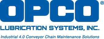 OPCO Lubrication Systems, Inc logo with tagline, industrial 4.0 conveyor chain maintenance solutions